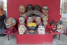 Photo about A variety of Catalonian large head folk art masks. Image of paper, spain, masks - 80264353
