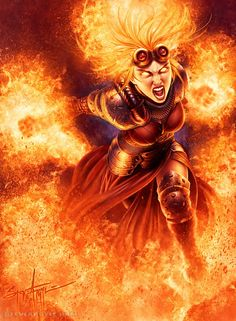 Awesome.  This is Chandra, wearing full armor and on fire.  I'm a little envious. Art by Steve Argyle (SteveArgyle on DeviantArt, and you're probably sick of me pinning him by now...  ;) )
