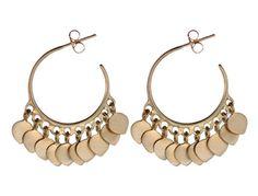 Obsessed!   10K Gold Medium Fine Hoop Earrings with Lotus Petals