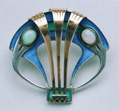 MAX JOSEPH GRADL for THEODOR FAHRNER Jugendstil Brooch ca. 1900. Silver, Gold, Enamel, and Opal.