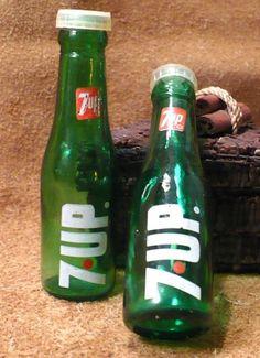 7Up Bottle Vintage Advertising Salt and Pepper Shakers by 4GetMeNotTreasures, $11.00