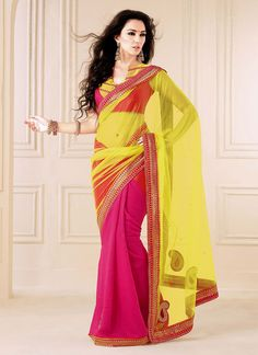 Appealing Yellow And Magenta Color Net Half And Half Saree