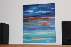 Tableau Abstrait - Peinture Abstraite Huile - Ciel Bleuté - 53 x 65 cms