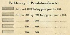 Populationskaart 1863 med angivelse af befolkningstæthed, herredsnavne og -grænser. Kilde: Statistisk Tabelværk, Tredie Række, Første Bind, 1863.