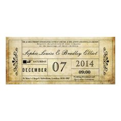 VINTAGE STYLE WEDDING DAY TICKET CUSTOM INVITATION ReviewReview from Associated Store with this Deal...