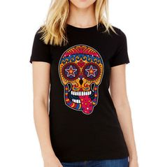 Velocitee Ladies Cheeky Sugar Skull T-Shirt Colourful Day Of The Dead V181 #Velocitee