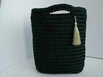 Crochet green color rope handmade woman handbag
