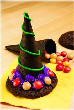 Witches hat filled with candy, made with cookies and chocolate cones.