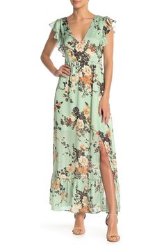 Image of Free Press Floral Ruffle Maxi Dress Top Designer Brands, Nordstrom Dresses, Ruffles, Wrap Dress, Bridesmaid Dresses, Feminine, Nordstrom Rack, My Style, Floral