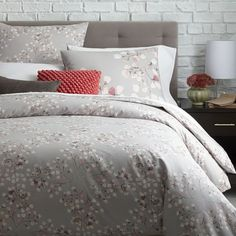 "Organic Vine Lattice Duvet Cover + Shams - Vintage Rose | west elm. Perfect w/black and white monogram letter pillow and ""&"" in blush from Pier1."