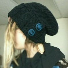 Black Hat w/ blue handmade buttons (owl and gear)