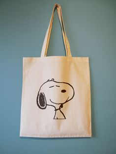 Awww Snoopy! It's his expression that gets me, this is how I want to feel EVERY DAY! 100% Natural Cotton Tote Bag, perfect summer bag.. yipeee! #Snoopy