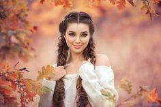 People 1920x1280 women brunette women outdoors braids blue eyes portrait fall face leaves smiling sweater Sergey Shatskov