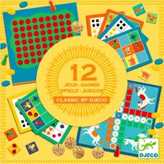 Classic Game Set - Set of 12 Djeco Toys and Hobbies Children Baby Games, Games For Kids, Arty Toys, Puzzles 3d, Stock Box, Classic Board Games, Tic Tac Toe Game, Gaming, Decorative Tape