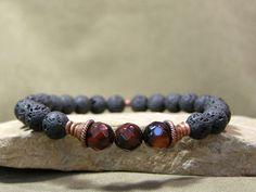 Mens Beaded Bracelet  Guys Jewelry by StoneWearDesigns