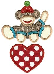 Valentine Sock Monkey 10 Applique - 2 Sizes! | Valentine's Day | Machine Embroidery Designs | SWAKembroidery.com Designs by Juju