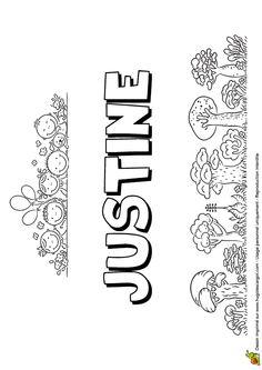 Dessin à colorier en version petite colline du prénom Justine