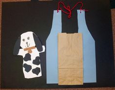 We make this project on kangaroo day. It goes with the book Katy No Pocket by Emmy Payne. This is always one of the kids favorite projects. They make the apron by tracing a pattern and then I assist with the strings. The kids glue on a paper bag for the pocket. Then using a generic stencil and the scrap box, the kids make all kinds of baby animals to put in their pocket.