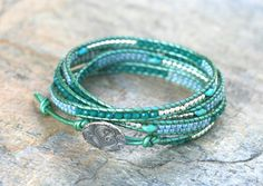 Tiny Sterling Silver Bead Jade Green Crystal Four Wrap by MindyG