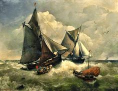 Andreas Achenbach ~ The Dusseldorf School of painting Ursula, Puzzle Of The Day, Rough Seas, Puzzle Art, Ship Art, Sailing Ships, Cross Stitch Patterns, Original Artwork, Art Pieces