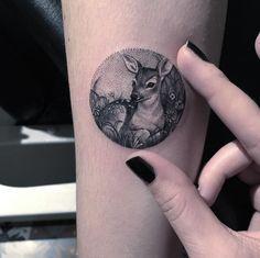Realistic Deer Circle Tattoo | Venice Tattoo Art Designs
