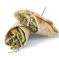 The bright flavors of lime, cilantro, and jalapeño are puréed together and combined with canned tuna fish for a unique, taco-inspired wrap.