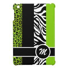 Lime Green Leopard and Zebra Monogram Animal Print iPad Mini Case $42