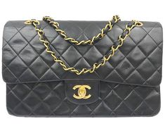 Chanel Black Lambskin Timeless 10 Double Flap 2.55