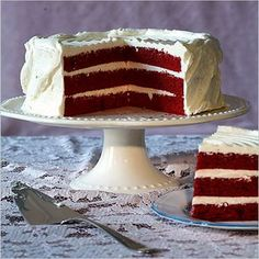 Red Velvet Cake and amazing frosting. If you're pressed for time, buy a box of red velvet cake mix and just make the frosting from scratch. Trust me, no one will know the difference! Red Velvet Wedding Cake, Red Velvet Cake, Velvet Cream, Ruby Wedding Anniversary, Parents Anniversary, Anniversary Cakes, Anniversary Ideas, Dessert Cake Recipes, Cake Trends