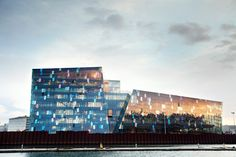 Harpa – Reykjavik Concert Hall and Conference Centre in Reykjavik, Iceland by Olafur Eliasson, Studio Olafur Eliasson team, Henning Larsen Architects, and Baterii∂ Architects.     Exterior