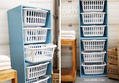 Designed by the fabulous Ana White, this laundry basket tower could also be used to hold clean clothes or toys. It could even be scaled down to hold smaller baskets and used to organize office supplies.