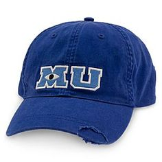 Students of Monsters University will proudly strike a pose in this all cotton ''MU'' Baseball Cap. They'll look frightfully stylish in this vintage-style hat bearing the renowned scare academy's distinctive logo. By far my fav baseball cap Visual Kei, Monsters University Hat, Disney University, Estilo Disney, Disney Monsters, Mein Style, Cute Hats, Cool Dad Hats, Disney Merchandise