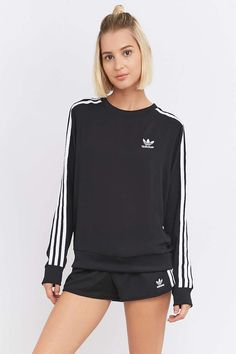 adidas Originals 3-Stripe Long Sleeve Black Jumper