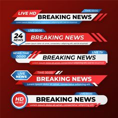 Breaking news banners Free Vector Easy-to-use template file with layers to get a quick start to your design. Free Vector Backgrounds, Vector Free, Live Television, Lower Thirds, Live Hd, News Channels, Live News, App Ui, Lorem Ipsum