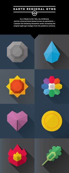 Pokémon Gym Badges by Andrew Kapish, via Behance