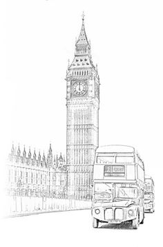 Big Ben and London Bus. Big Ben and London Bus. London Sketch, London Drawing, London Bus, London Food, London Street, London City, Art Sketches, Art Drawings, Falaise Etretat