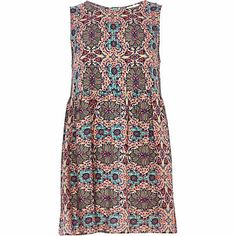 Pink abstract floral print smock dress $50.00