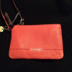 "Authentic Coach Wristlet Coach wristlet in ""TeaRose"" color. Brand new with tags. Code F49475. Dimensions are 6.25 "" length , 1/2"" depth , 4.5"" height. Coach lettering in gold on front. Leather . No trades please Coach Bags Clutches & Wristlets"