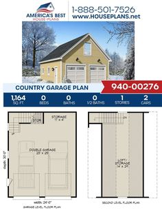 This Country design would be the perfect addition to your home! Plan 940-00276 gives you 1,164 sq. ft., additional storage, space for two vehicles, a loft, and additional storage. Learn more about this Country design on our website. Country House Plans, Best House Plans, Floor Plan Drawing, Stair Detail, Construction Cost, House Stairs, Build Your Dream Home, Square Feet, Architecture Design