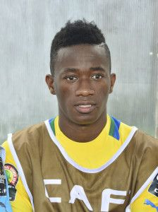 Junior Otoo Zue of Gabon during the 2015 Africa Cup of Nations football match between Burkina Faso v Gabon at Bata Stadium in Bata, Equatorial Guinea on 17 January 2015 ©Barry Aldworth/BackpagePix