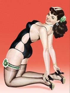 a18745eca5e Pin Up Brunette With Cutout Bathing Poster Print (18 x 24)