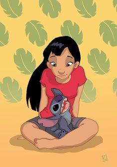 Teenage Lilo with Stitch. OMG, can you imagine when Lilo gets a boyfriend? Having a big scary dad holding a shotgun would have NOTHING on Stitch! Best of Disney Art by Kiviart Disney Pixar, Disney Animation, Disney And Dreamworks, Disney Magic, Disney Art, Disney Movies, Walt Disney, Disney Characters, Disney Princesses