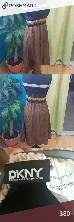 100% silk DKNY tube top dress small Amazing, excellent condition! Has pockets!!! Dkny Dresses