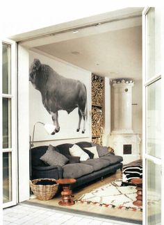 bull and fireplace