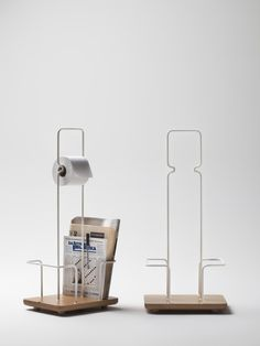 Daily paper by Luca Corvatta is a magazine rack and toilet paper holder which solves the two functions in a practical and ironical way. Three bended steel wires create the space to place magazines and support the roll with two simple folds. Thanks to the handle Daily Paper can be easily moved. www.lucacorvatta.com