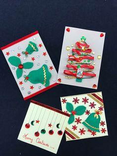 Des cartes de vœux faites main par des enfants lors de notre atelier Noël!