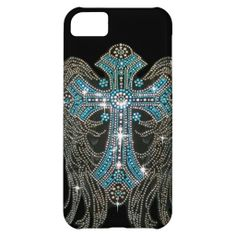 Angel Wings & Cross, Teal and Silver on Black Case For iPhone 5C