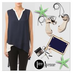 """Navy blue top by Joseph Ribkoff"" by premiereavenue-boutique ❤ liked on Polyvore featuring Joseph Ribkoff, Valentino, 3.1 Phillip Lim, Borghese, premiereavenue, premiereavenueboutique and JosephRibkoff"