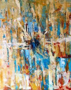 """Songs of Light"" by Lisa Mounteer-Watson. Fractured abstract oil painting with vivid blues against warmer tones and white."
