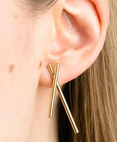 ab75436ba Gold Hex Earrings. Minimalist earrings. Modernist jewellery. Gold jewelry.  Jewelry Box,. Marcia Vidal
